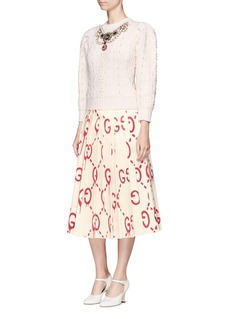 Gucci 'GucciGhost' print pleated duchesse satin skirt
