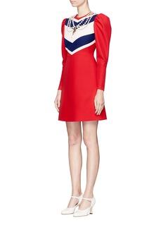 Gucci Necklace embellished puff shoulder dress