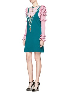 Gucci Necklace embellished ruffle trim colourblock dress