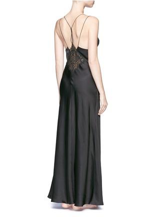Back View - Click To Enlarge - La Perla - 'Petit Macramé' floral lace silk-blend gown