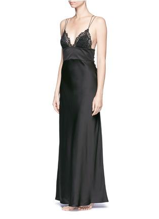 Figure View - Click To Enlarge - La Perla - 'Petit Macramé' floral lace silk-blend gown