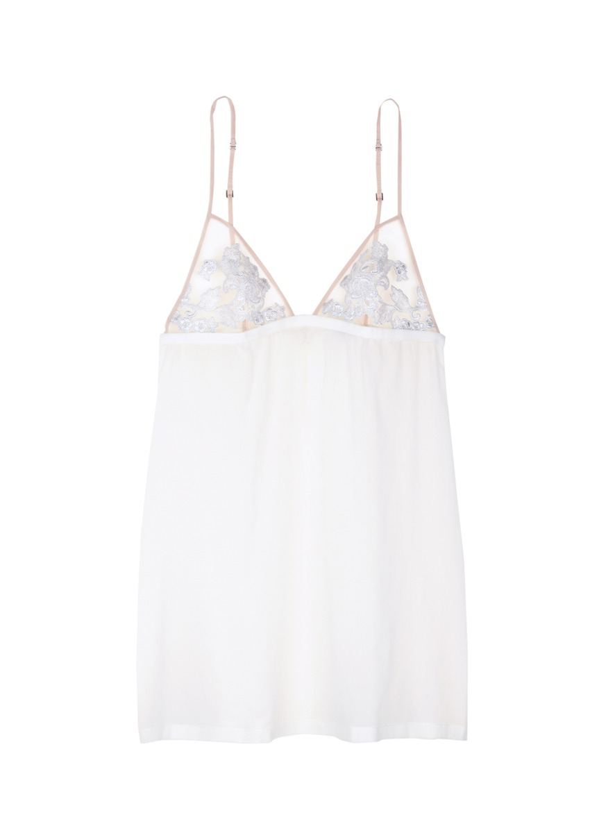 Moonlight metallic floral embroidered silk blend slip by La Perla