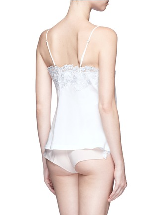 Back View - Click To Enlarge - La Perla - 'Moonlight' metallic floral embroidered silk blend camisole