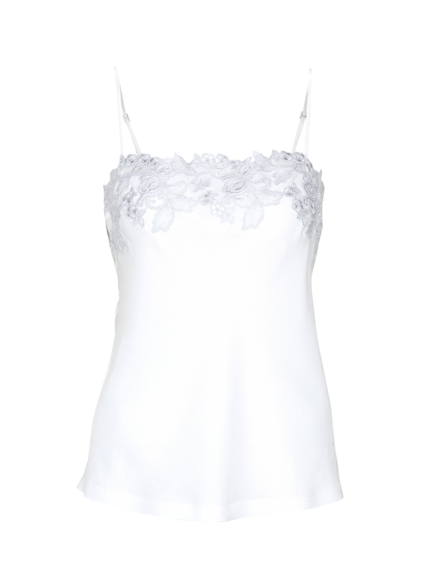 Moonlight metallic floral embroidered silk blend camisole by La Perla