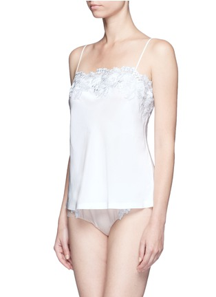 Figure View - Click To Enlarge - La Perla - 'Moonlight' metallic floral embroidered silk blend camisole