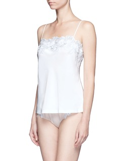 La Perla 'Moonlight' metallic floral embroidered silk blend camisole