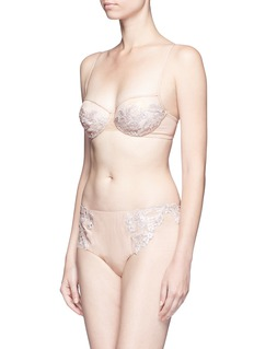 La Perla 'Moonlight' metallic floral embroidered tulle underwired bra