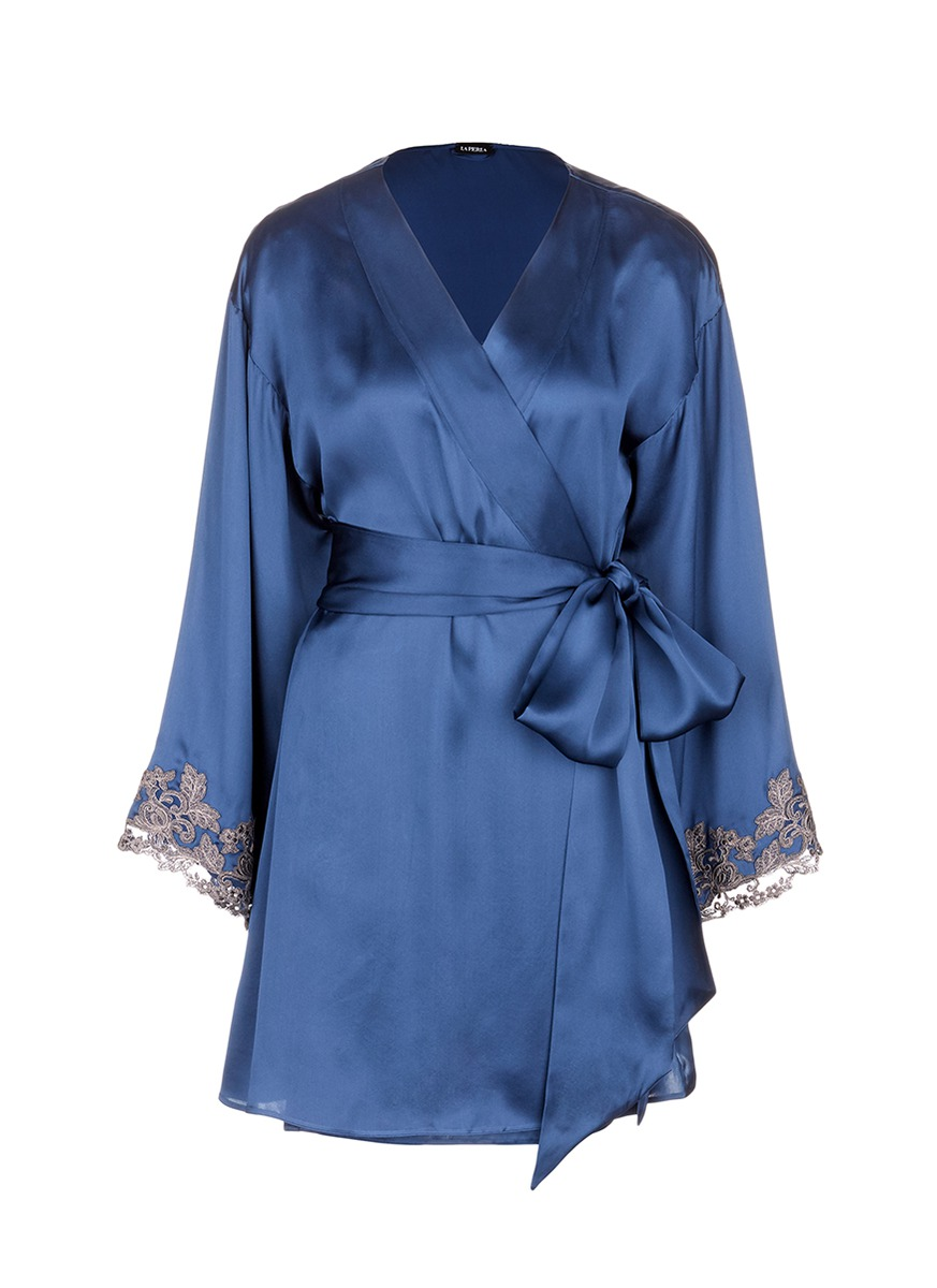 Maison floral embroidered silk blend robe by La Perla