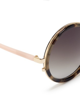 Detail View - Click To Enlarge - Matthew Williamson - Stainless steel rim tortoiseshell acetate round sunglasses