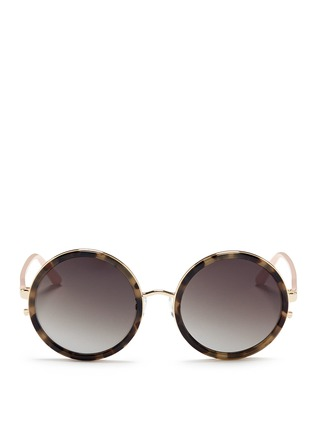 Main View - Click To Enlarge - Matthew Williamson - Stainless steel rim tortoiseshell acetate round sunglasses