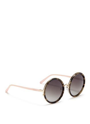 Figure View - Click To Enlarge - Matthew Williamson - Stainless steel rim tortoiseshell acetate round sunglasses