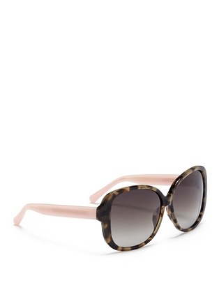 Figure View - Click To Enlarge - Matthew Williamson - Contrast temple tortoiseshell acetate oversize sunglasses