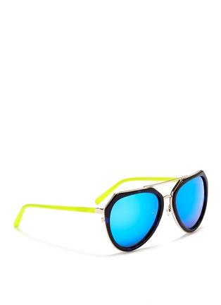 Figure View - Click To Enlarge - Matthew Williamson - Stainless steel rim angular aviator mirror sunglasses