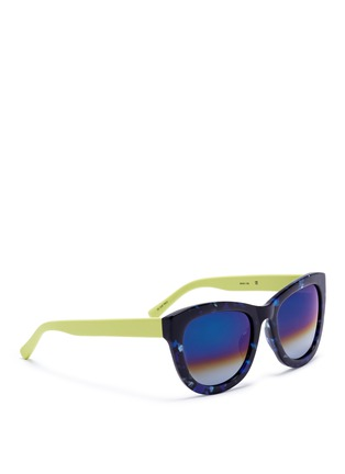 Figure View - Click To Enlarge - Matthew Williamson - Contrast temple tortoiseshell acetate mirror sunglasses