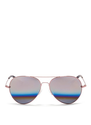 Main View - Click To Enlarge - Matthew Williamson - Stainless steel aviator mirror sunglasses