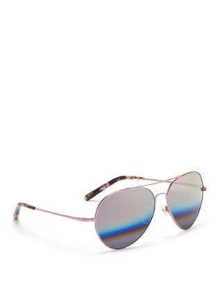 Figure View - Click To Enlarge - Matthew Williamson - Stainless steel aviator mirror sunglasses