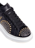 Chunky outsole mix stud leather sneakers