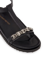 Skull chain leather T-strap sandals