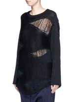 Distressed knit paper-cotton blend sweater