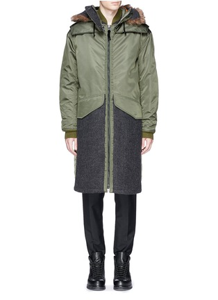 Main View - Click To Enlarge - 3.1 Phillip Lim - Detachable shearling hood oversized parka