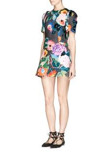 CHICTOPIAFloral print scuba jersey flare dress
