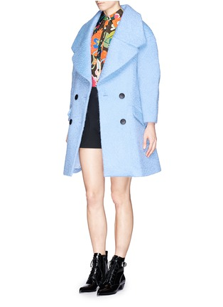 Figure View - Click To Enlarge - Chictopia - Wide lapel oversize wool-mohair midi coat