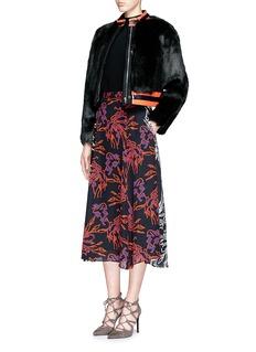 TANYA TAYLOR'Fran' coated stripe faux fur biker jacket