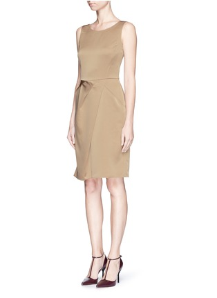 Front View - Click To Enlarge - Armani Collezioni - Asymmetric pleat satin dress