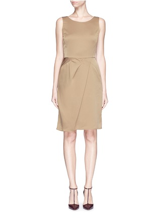 Main View - Click To Enlarge - Armani Collezioni - Asymmetric pleat satin dress