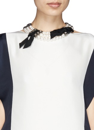 Figure View - Click To Enlarge - Lanvin - Faux pearl grosgrain ribbon choker necklace
