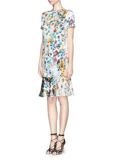 ST. JOHNWatercolour pansy print charmeuse dress