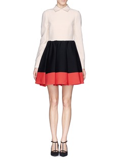 VALENTINO Colourblock wool-silk pleat skirt dress