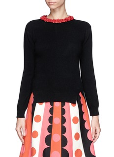 VALENTINOFloral leather collar wool-cashmere sweater