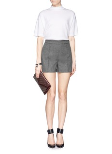 VALENTINO Wool felt pleat shorts