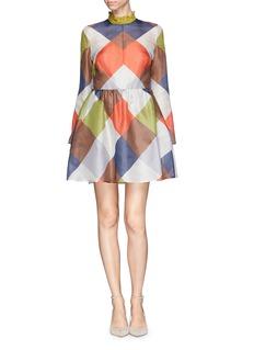 VALENTINOCheck silk organza ruffle collar dress