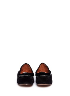 LANVIN Patent leather bow suede slip-ons