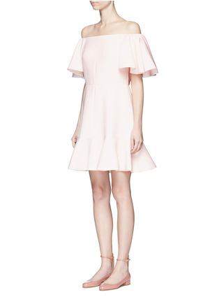 Front View - Click To Enlarge - Valentino - Ruffle Crepe Couture off-shoulder dress