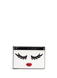 alice + olivia 'Winking Stace Face' embroidered patent leather card holder