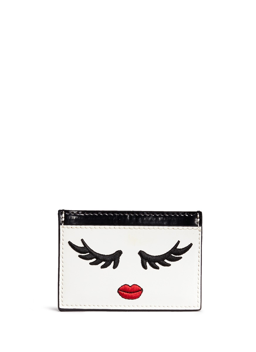 Winking Stace Face embroidered patent leather card holder by alice + olivia