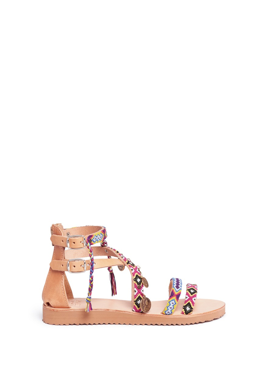 Cassie ethnic embroidered coin charm leather sandals by MABU by Maria BK