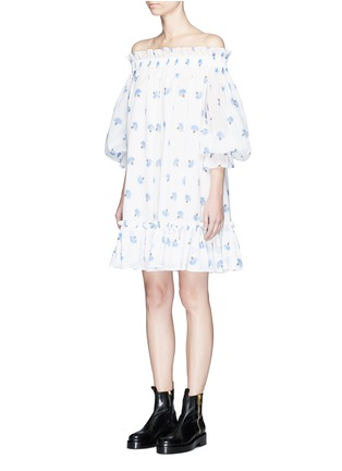 Front View - Click To Enlarge - Alexander McQueen - Floral print cotton voile off-shoulder dress