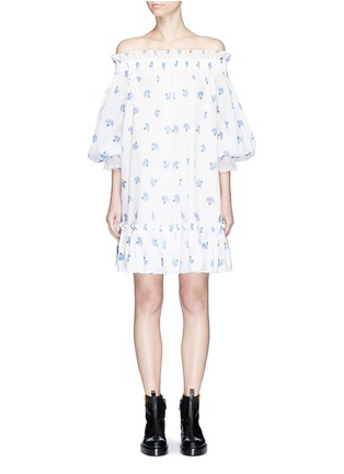 Main View - Click To Enlarge - Alexander McQueen - Floral print cotton voile off-shoulder dress