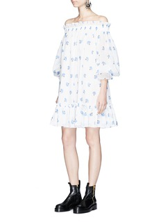 Alexander McQueen Floral print cotton voile off-shoulder dress