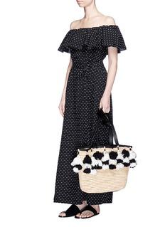 Lisa Marie Fernandez'Mira Flounce' off-shoulder belted cotton dress