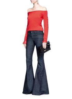 Oscar de la RentaChiffon cuff off-shoulder virgin wool-silk sweater