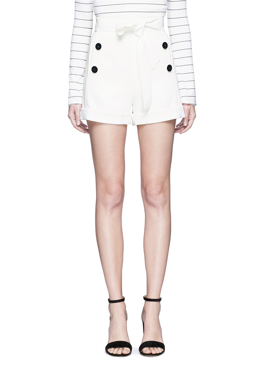 High waist belted crepe shorts by Comme Moi