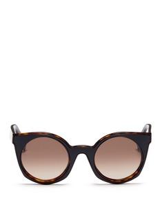 Fendi'Be You' inset rim colourblock acetate round sunglasses