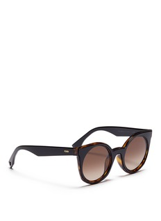 Fendi 'Be You' inset rim colourblock acetate round sunglasses