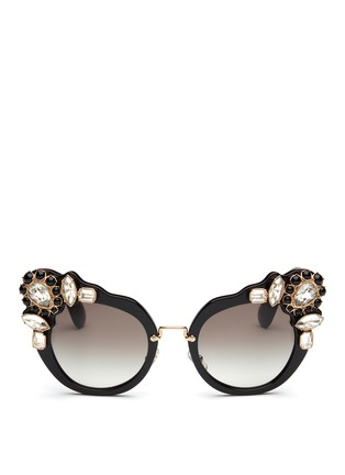 Main View - Click To Enlarge - miu miu - 'Catwalk' jewelled acetate cat eye sunglasses