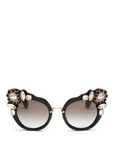 miu miu'Catwalk' jewelled acetate cat eye sunglasses